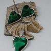 Aros y colgante corazón verdes