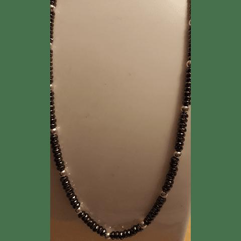 Collar hematita y plata