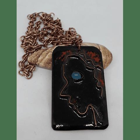 Colgante y cadena cobre esmaltado