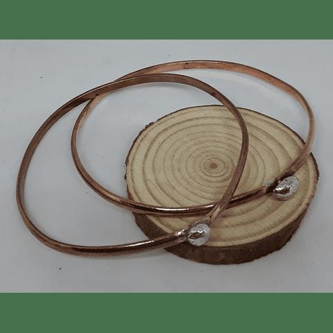 Esclavas de cobre con bolita plata