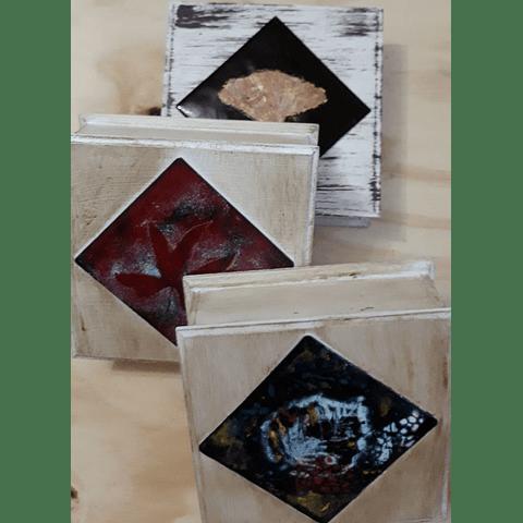 Cajas  madera y cobre varias cuadradas