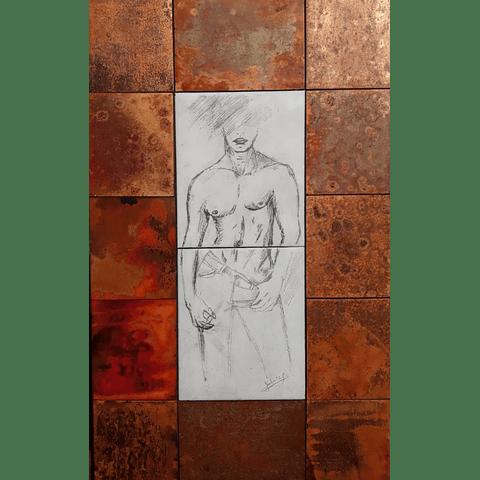 Cuadro en cobre esmaltado y dibujado