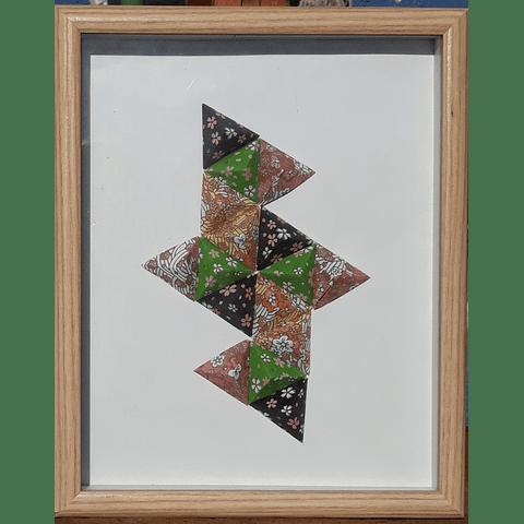 Cuadro Origami, enmarcado.