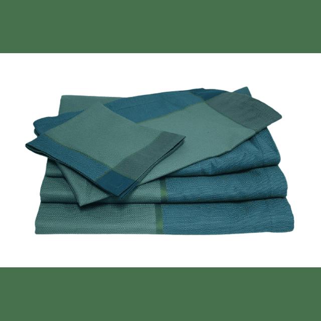 Runner de mesa Azul/ Verde - Jacquard Francês