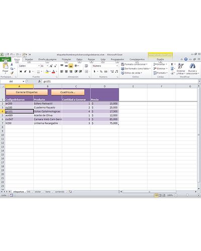 Generando e Imprimiendo Etiquetas Adhesivas con Excel usando Macros