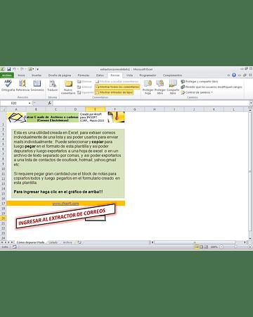 Plantilla para depurar correos electronicos usando Copy/Paste en Excel y Bloc de Notas