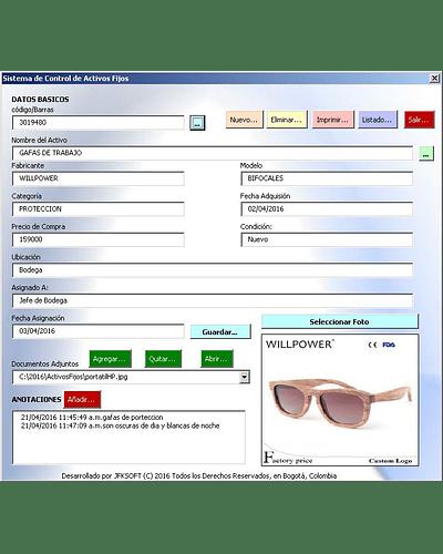 Plantilla; Manejo de Activos Fijos con Excel