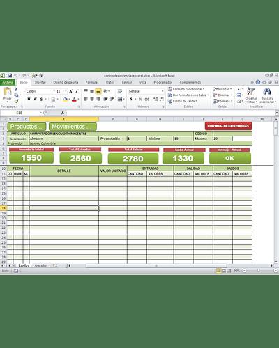 Plantilla Control de Existencias - Kardex Infinito - Control de Inventarios