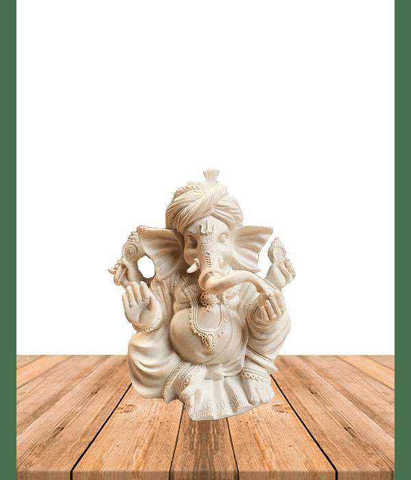 """Diosa Ganesh en Poliresina Mediana color Blanco 9"""" JI19-488"""