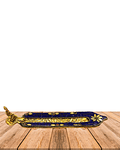 Hoja Porta Incienso de Metal Color Dorado con  Aplicaciones de color SLV19-159
