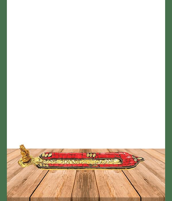 Porta Incienso de Metal Color Dorado con  Aplicaciones de color VDQ20-53