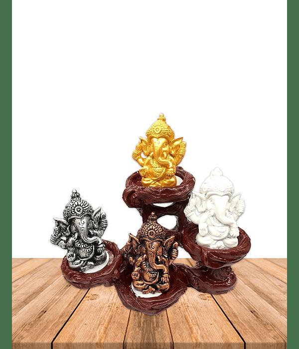 "Set Figura Ganesh  Poliresina Pedestal   6"" JI19-405"