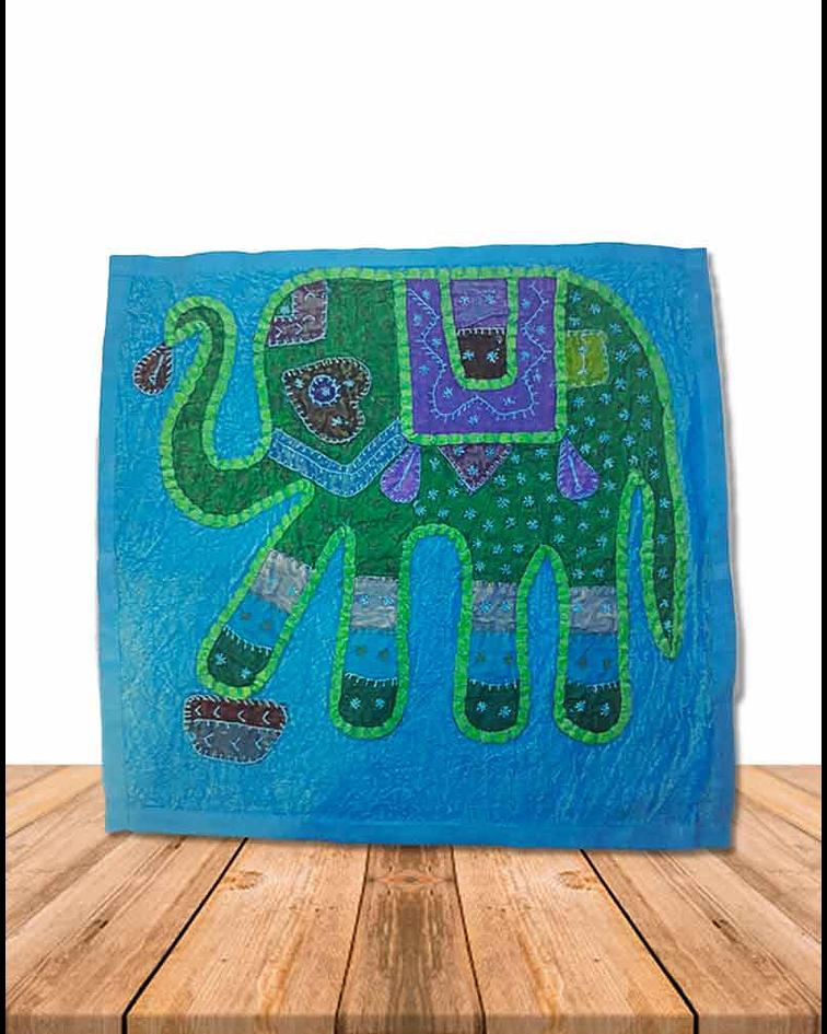 Funda de Cojín Bordada Elefante