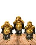 """Figura Buda  Ciego, Sordo y Mudo, Poliresina 5"""" JI21-24"""