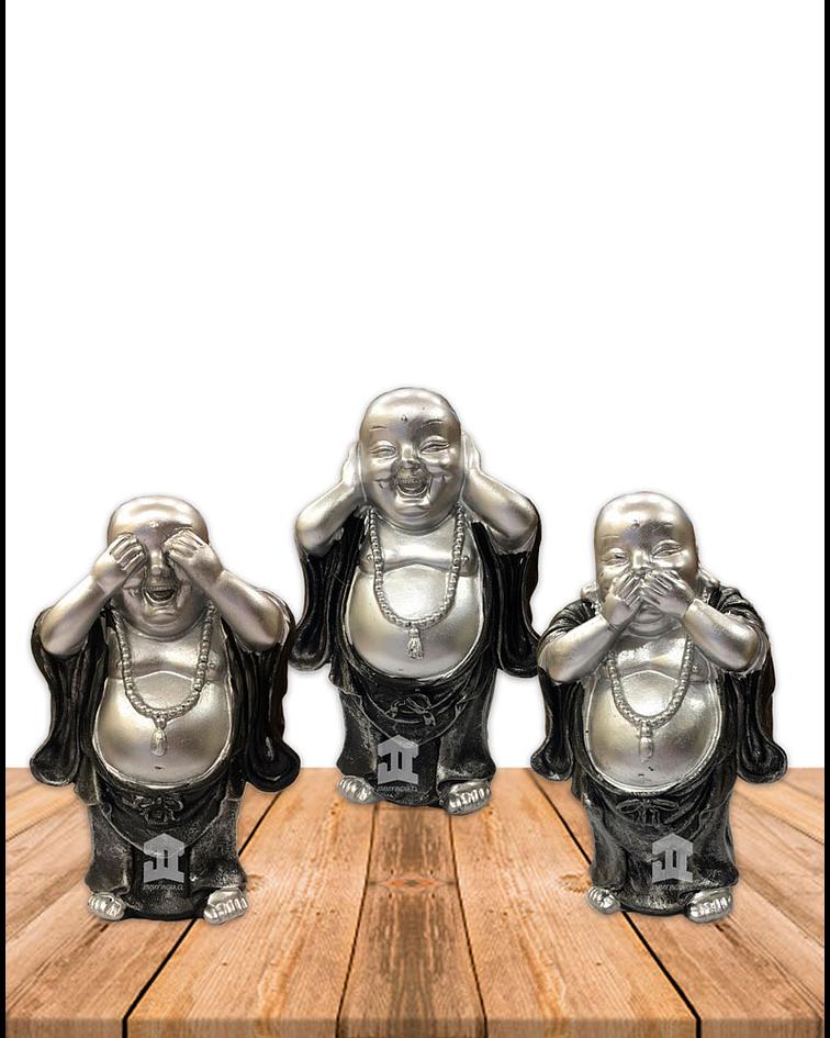 """Figura Buda  Ciego, Sordo y Mudo, Poliresina 5"""" JI21-30"""