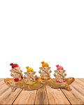 "Set Figura Ganesh  Poliresina Pedestal   4"" JI21-69"
