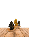 "Set Figura Ganesh  Poliresina Pedestal   3,5"" JI21-63"