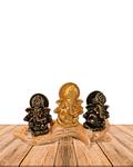 "Set Figura Ganesh  Poliresina Pedestal   3,9"" JI21-64"
