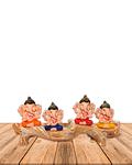 "Set Figura Ganesh   Poliresina Pedestal   4"" JI21-61"