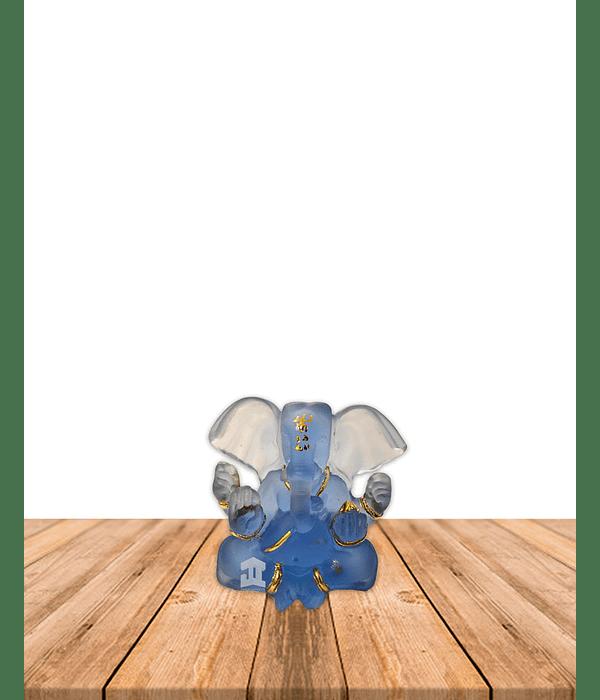 """Dios Ganesh  Pequeño Azul Transparente 3"""" JI21-11"""