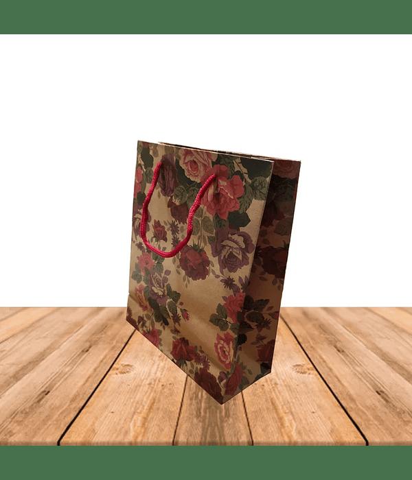 Bolsa Kraft de Regalo con diseño 19cm X 25 cm Precio x Docena