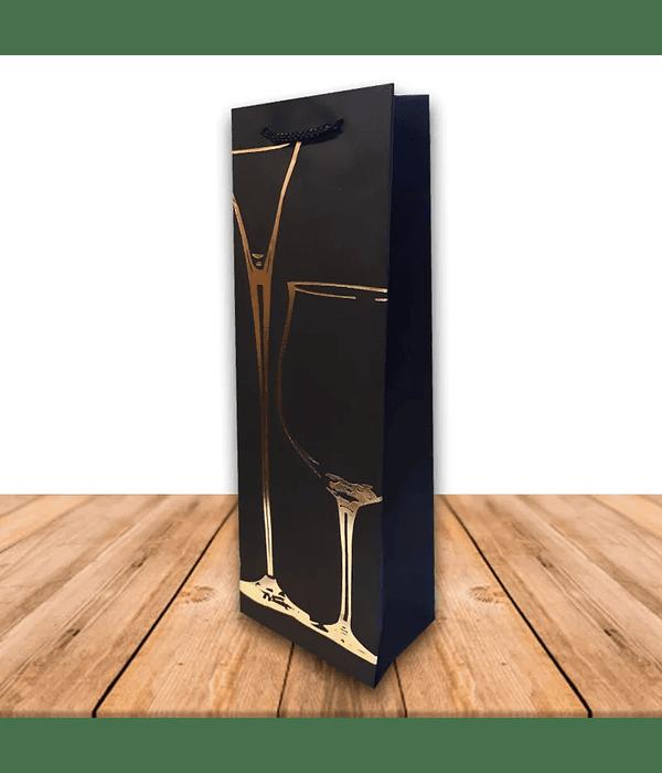 Bolsa De Vino Con Diseño 12,7 x 36 cms Precio x Docena