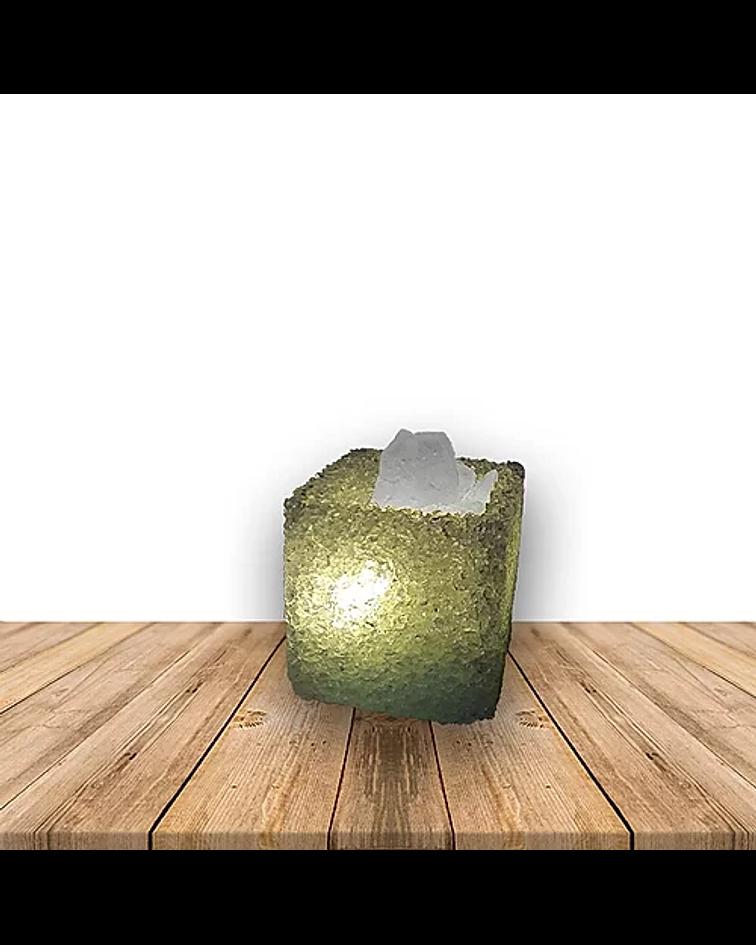 Lámpara de Cristal Natural Eléctrica c/ USB Cuadrada