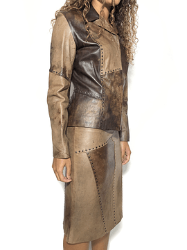 Riveted Leather Skirt Suit