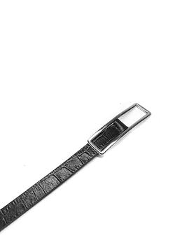 Black Croco Motif Leather Belt