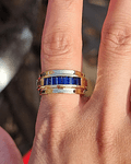 Anillo de Zafiros Azules corte Baguette en Oro Amarillo 18kl