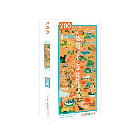 Mapa de Chile Regiones y Ciudades - 200 Piezas