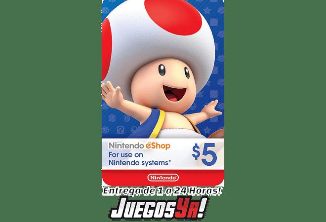 Nintendo Eshop 5USD USA Cuenta Estados Unidos ⬇️⬇️Leer Descripción