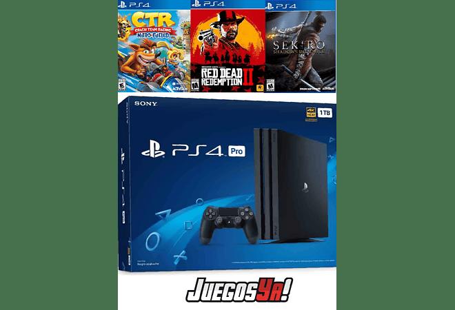 PS4 Pro Negra 1TB + 3 juegos Los QUE DESEES!