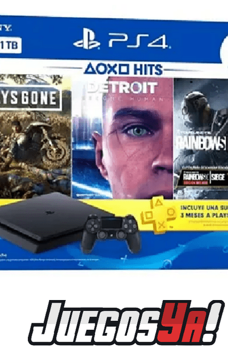 PS4 Slim 1TB Bundle 3 juegos+ membresía plus 3 meses