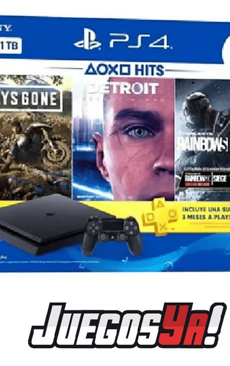PS4 Slim 1TB Bundle 3 juegos+ membresía plus 3 meses