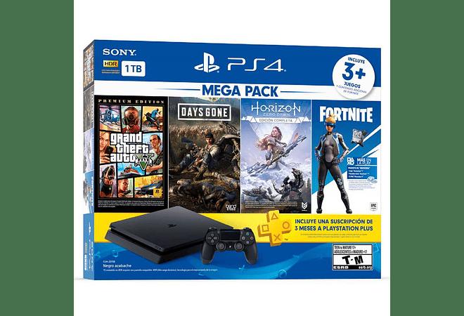 PS4 Slim Mega Pack 1TB Bundle 3 juegos+ membresía Plus 3 meses