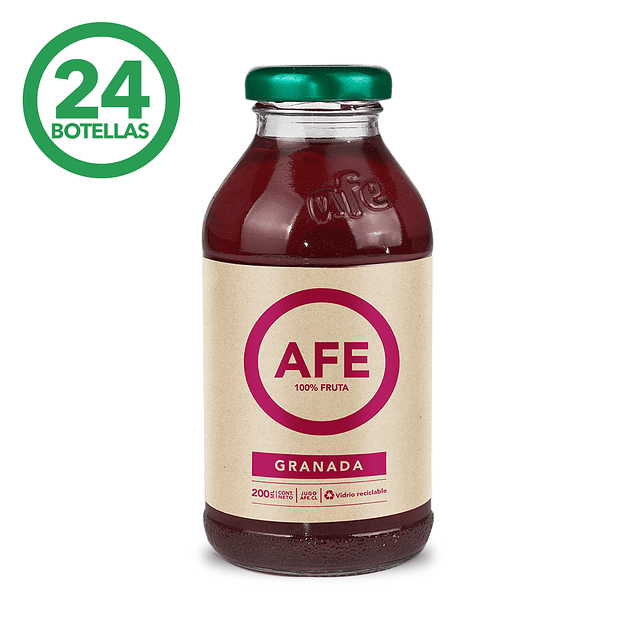 JUGO DE GRANADA: 24 BOTELLAS AFE 200 ML