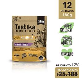 TORTIKAS HUMMUS TOMATE & CEBOLLA: 12 unidades 180 grs