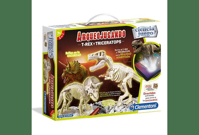 Arqueojugando T-Rex y Triceratops Fluorecentes