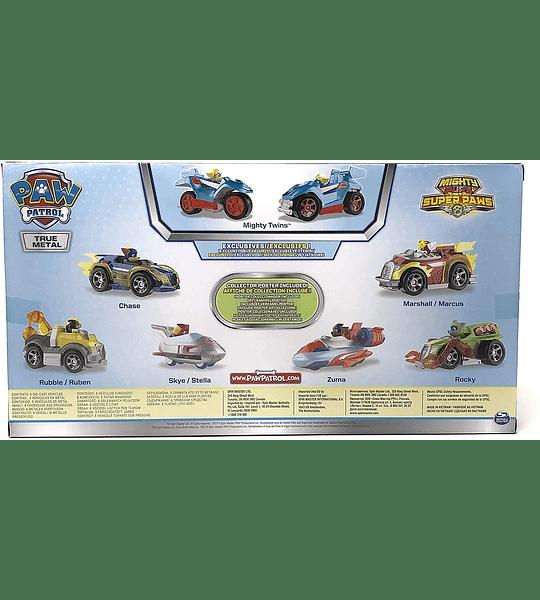 Paw Patrol Mighty Pups Super Paw Set 8 Vehículos Metálicos