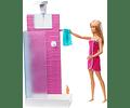 Barbie Muñeca con muebles de baño y accesorios