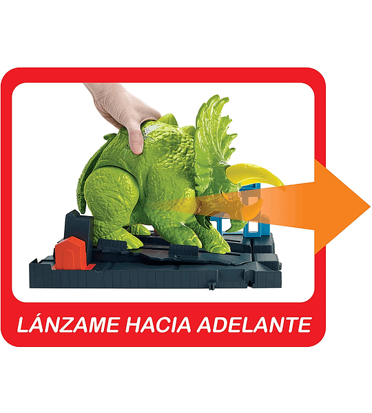 Pista de Dinosaurio Triceratops y lanzador de coches Hot Wheels City