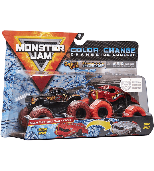 Maldición del capitán y Crushstation Monster Jam 2020 - Escala de cambio de color 1:64