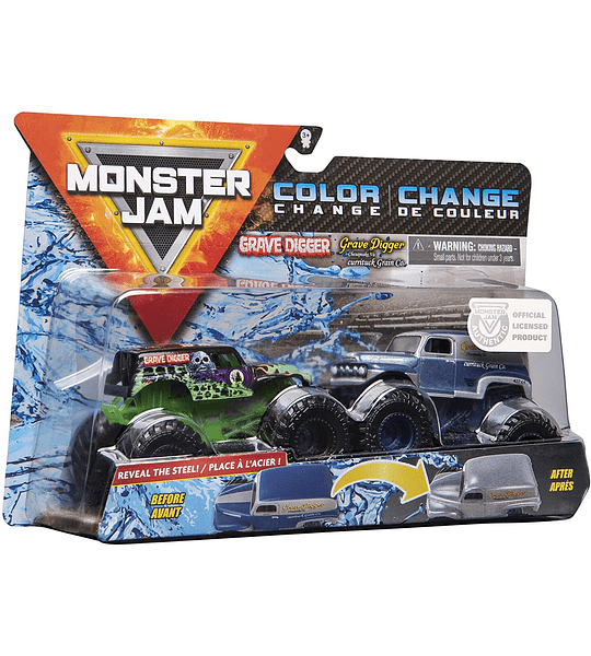 Grave Diggers Monster Jam 2020 Color Change 1:64 Escala 2-Pack