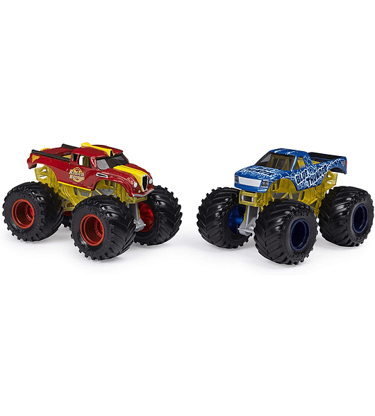 Radical Rescue y Blue Thunder Monster Jam 2020 - Escala de cambio de color 1:64 paquete de 2