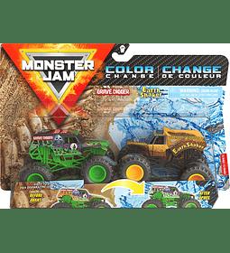 Grave Digger vs Earth Shaker Cambio de color, escala 1:64
