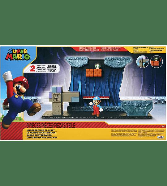 Subterráneo con figura de acción Ice Mario incluye 2 piezas interactivas