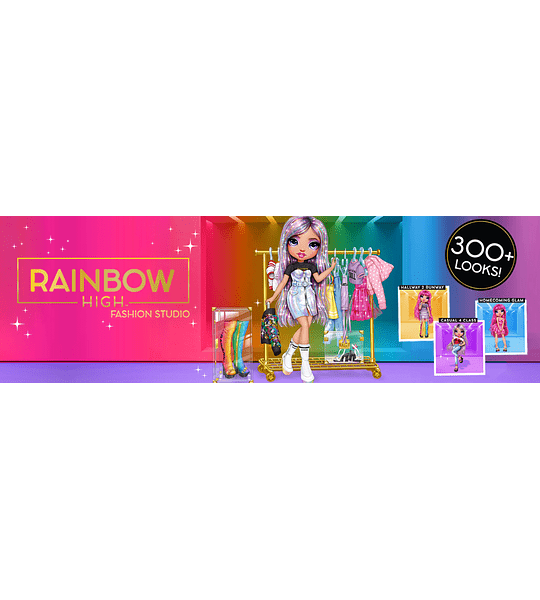 Avery Styles Muñeca exclusiva y Fashion Studio Rainbow High Crea mas de 300 Looks