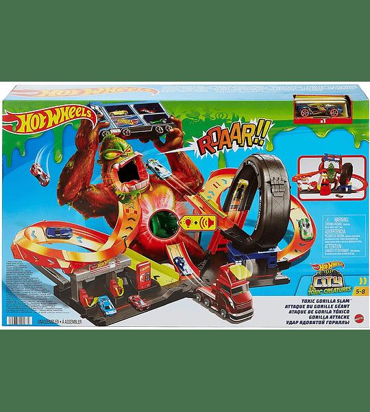 Toxic Gorilla Slam  Hot Wheels Estación de servicio con luces y sonidos
