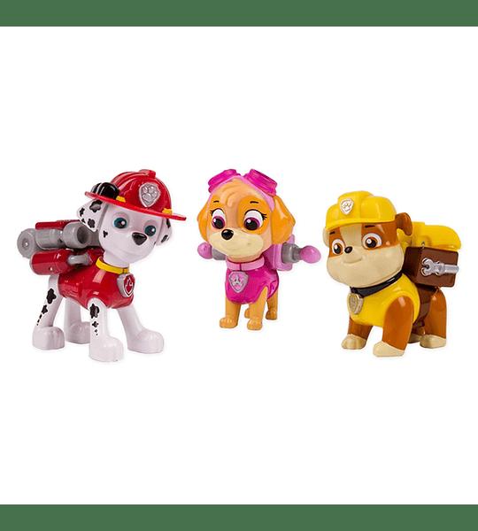 Paw Patrol - Set 3 Figuras Acción La Patrulla - Marshall, Rubble y Skye